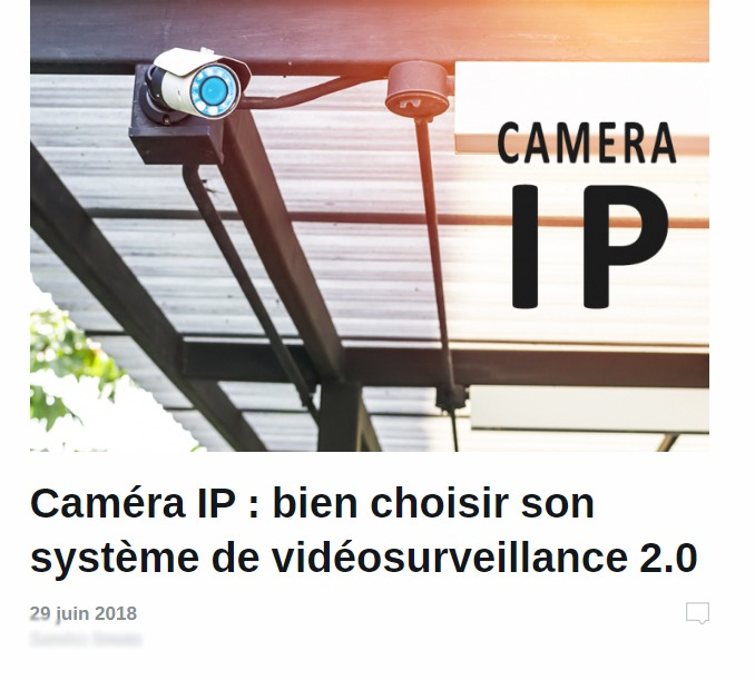 Alarme De Clerck : article caméra IP