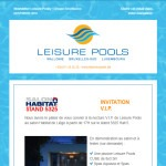 Newsletter de Leisure Pools : invitation