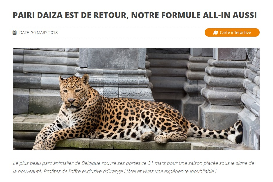 Orange Hotel : article sur Pairi Daiza