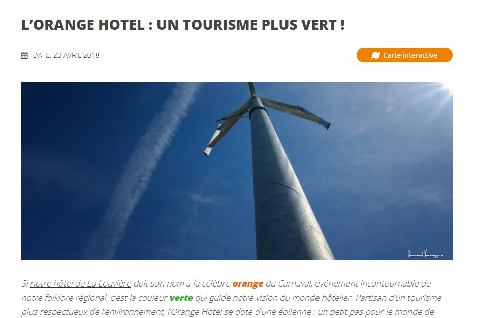 Orange Hotel : article tourisme vert
