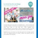 Newsletter de Servimat : promotion sur le carrelage