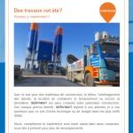 Newsletter de Servimat cocnernant le secteur de la construction